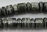 CRB136 15.5 inches 6*12mm & 10*12mm rondelle green silver line jasper beads