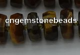 CRB1433 15.5 inches 7*14mm faceted rondelle yellow tiger eye beads
