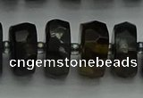 CRB1443 15.5 inches 7*14mm faceted rondelle blue tiger eye beads