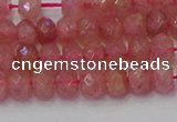CRB1800 15.5 inches 4*6mm faceted rondelle strawberry quartz beads