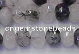 CRB1818 15.5 inches 6*10mm faceted rondelle black rutilated quartz beads