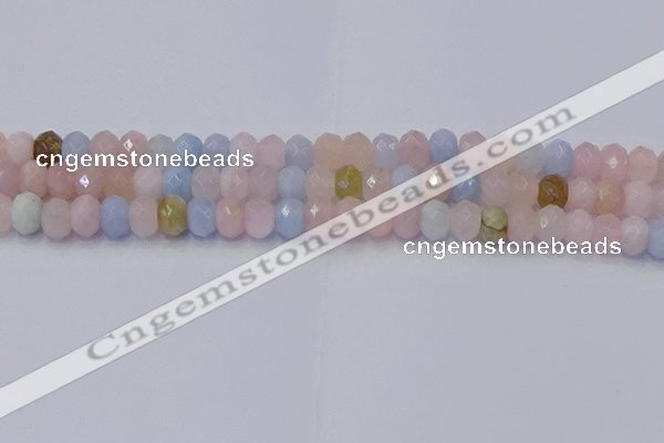 CRB1829 15.5 inches 5*8mm faceted rondelle morganite beads