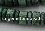CRB192 15.5 inches 6*16mm – 10*16mm rondelle green picture jasper beads
