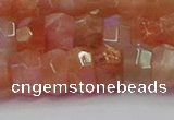 CRB1932 15.5 inches 6*10mm faceted rondelle sunstone beads