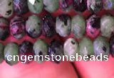 CRB1976 15.5 inches 4*6mm faceted rondelle ruby zoisite beads