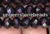 CRB1999 15.5 inches 6*8mm faceted rondelle black spinel beads