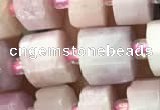 CRB2067 15.5 inches 11mm - 12mm faceted tyre kunzite gemstone beads