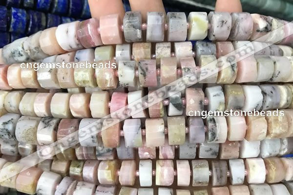 CRB2070 15.5 inches 7mm - 8mm faceted tyre pink opal beads