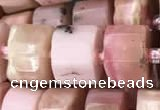 CRB2076 15.5 inches 9mm - 10mm faceted tyre pink opal beads