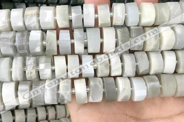 CRB2084 15.5 inches 13mm - 14mm faceted tyre grey moonstone beads