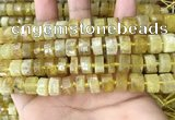 CRB2171 15.5 inches 11mm - 12mm faceted tyre yellow opal beads