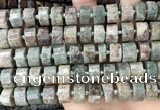 CRB2304 15.5 inches 13mm - 14mm faceted tyre ghost gemstone beads