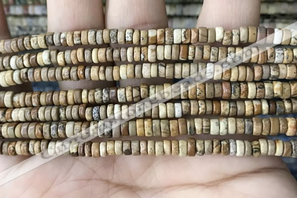 CRB2568 15.5 inches 2*4mm heishe picture jasper beads wholesale