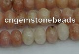 CRB2842 15.5 inches 6*10mm rondelle red plum blossom jade beads