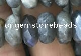 CRB3051 15.5 inches 6*12mm faceted rondelle labradorite beads