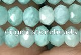 CRB3071 15.5 inches 4*6mm faceted rondelle amazonite gemstone beads