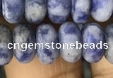 CRB5057 15.5 inches 5*8mm rondelle matte blue spot stone beads