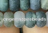 CRB5068 15.5 inches 5*8mm rondelle matte moss agate beads wholesale