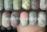CRB5073 15.5 inches 5*8mm rondelle matte unakite beads wholesale