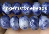CRB5107 15.5 inches 4*6mm faceted rondelle blue spot stone beads