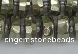 CRB599 15.5 inches 8*14mm faceted rondelle pyrite beads