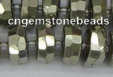 CRB601 15.5 inches 8*18mm faceted rondelle pyrite beads