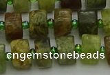 CRB665 15.5 inches 6*10mm tyre green garnet gemstone beads