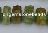 CRB852 15.5 inches 8*14mm faceted rondelle green garnet beads