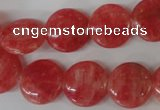 CRC24 15.5 inches 16mm flat round dyed rhodochrosite gemstone beads