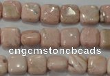 CRC301 15.5 inches 10*10mm square Peru rhodochrosite beads