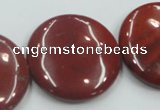 CRE10 16 inches 30mm flat round natural red jasper beads wholesale