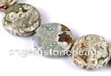 CRH08 different sizes coin sape natural rhyolite beads Wholesale