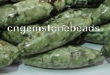 CRH108 15.5 inches 12*40mm rice rhyolite beads wholesale