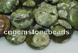 CRH37 15.5 inches 16mm flat round rhyolite beads wholesale