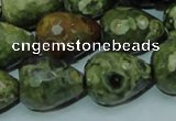 CRH65 15.5 inches 15*20mm faceted teardrop rhyolite beads wholesale