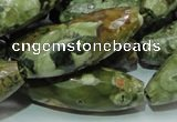 CRH72 15.5 inches 15*40mm faceted rice rhyolite beads wholesale