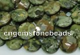 CRH84 15.5 inches 12mm faceted flat round rhyolite beads wholesale
