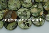 CRH86 15.5 inches 16mm faceted flat round rhyolite beads wholesale