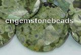 CRH88 15.5 inches 40mm faceted flat round rhyolite beads wholesale