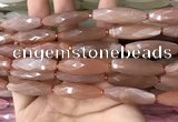 CRI137 15.5 inches 10*30mm faceted rice moonstone gemstone beads