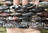 CRI141 15.5 inches 10*30mm faceted rice snowflake obsidian beads