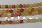 CRJ400 15.5 inches 4mm faceted round red & yellow jade beads