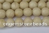 CRJ601 15.5 inches 6mm round white fossil jasper beads wholesale