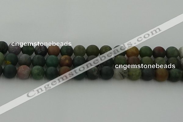 CRO1084 15.5 inches 12mm round matte Indian agate beads wholesale