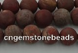 CRO1102 15.5 inches 8mm round matte pomegranate jasper beads