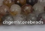 CRO1198 15.5 inches 10mm faceted round mixed lodalite quartz beads