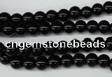 CRO21 15.5 inches 6mm round black agate gemstone beads wholesale