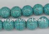 CRO395 15.5 inches 14mm round synthetic turquoise beads wholesale