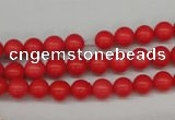 CRO44 15.5 inches 6mm round synthetic coral beads wholesale