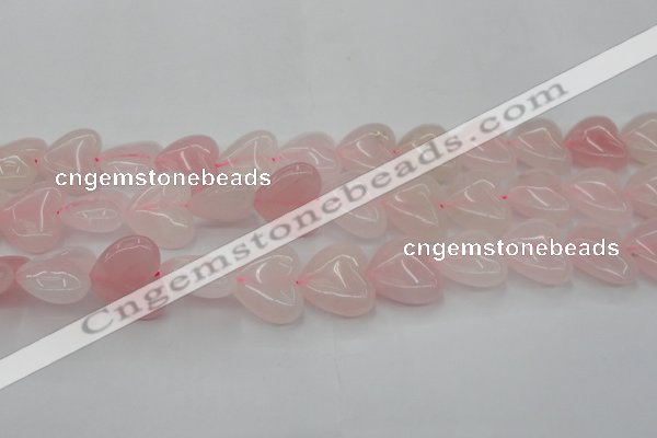 CRQ634 15.5 inches 22*22mm heart rose quartz beads wholesale